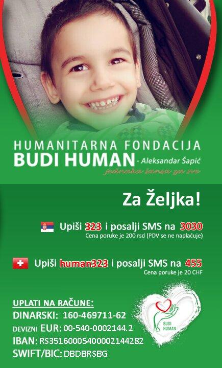 Pomozimo Željku! Upišimo 323 i pošaljimo SMS na 3030 (RT hvala) budihuman.rs/sr/korisnik/32… #budihuman #jednakašansazasve @BeogradskeV @sdcrvenazvezda @LepaBrena_TW @IdiMiNaProfil