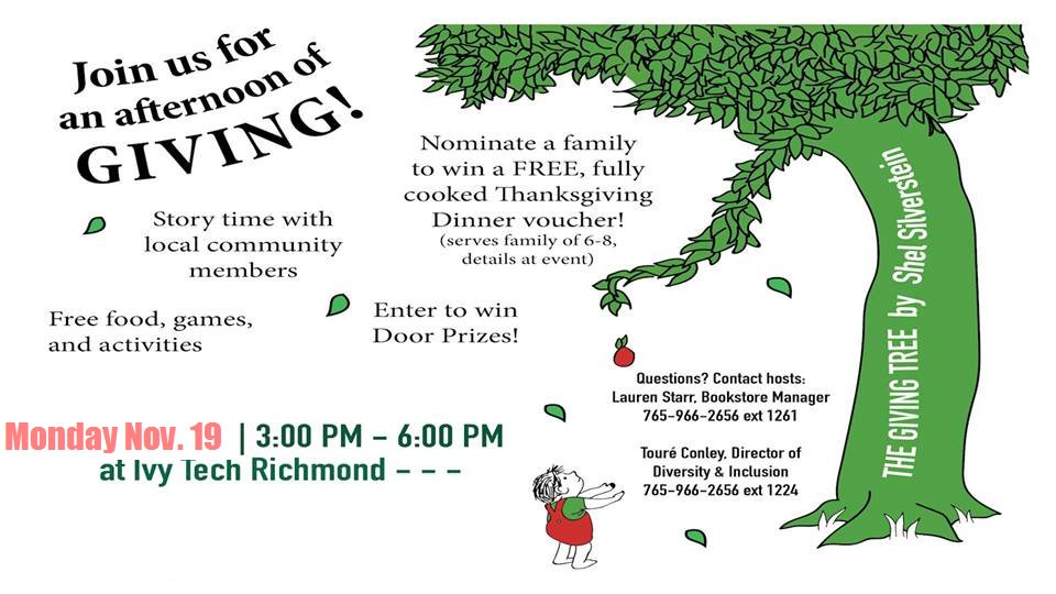 Ivy Tech Richmond On Twitter Please Share Afternoon Of Giving Happens Today At 3p In Johnson Hall We Re Giving Away Fully Cooked Thanksgiving Meal Vouchers Open To The Entire Community Pi News G1013fm