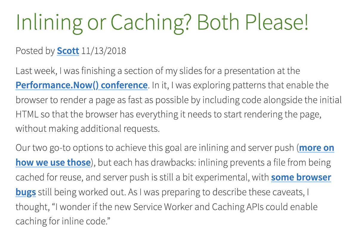 Plug in critical CSS, then automatically cache inlined styles via a service worker, then set a cookie to avoid loading the inlined CSS on subsequent visits.  ↬ 'Inlining or Caching? Both Please!' by @scottjehl  https://t.co/fI4J8FwdEW  ↬ Demo https://t.co/QPJ6am6VPg