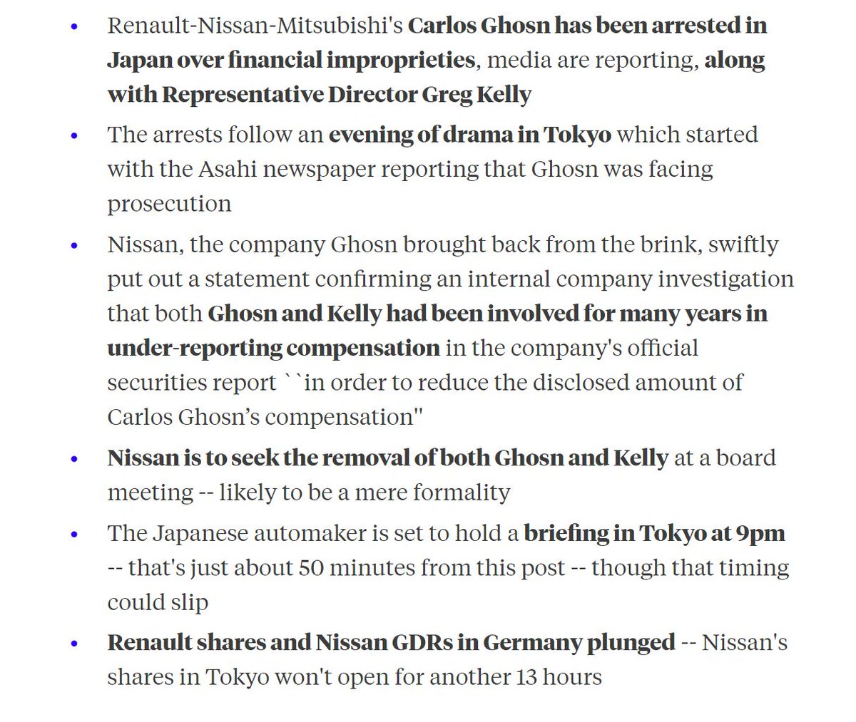 What we know so far about the scandal surrounding Carlos Ghosn, who's reportedly under arrest in Japan https://t.co/mRkehjkNR5
