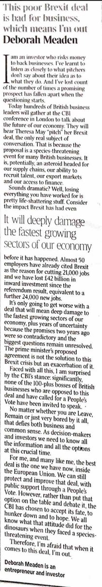 """@DeborahMeaden """"I am surprised by the CBI's stance: significantly, none of the 100-plus bosses of British business opposed to May's Deal, and have called for. People's Vote, have been invited to speak"""" @CBItweets @thetimes @people'sVote_UK"""