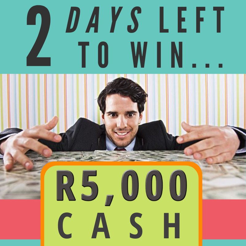 Just 2 days to go until we give away R5,000 cash 🤑  It could be yours, all you have to do is get those entries in... Play Now: https://t.co/11BDrVMt5y https://t.co/jneZ7W3sZ8