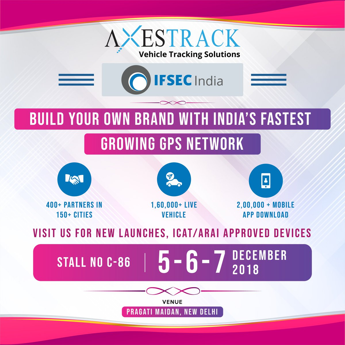 Axestrack is proud to be at #IFSEC 2018. We are excited to showcase our new Launches and Exciting offers with advanced Vehicle Tracking software. axestrack.com #GPS #GPSDevice #VehicleTrackingSolutions #BuildYourOwnBrand #NewBusinessOpportunity #Exhibition