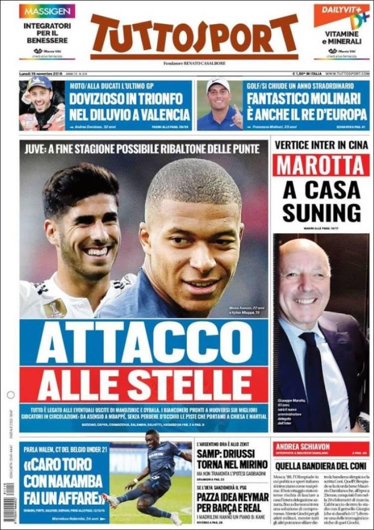🗞️ Las PORTADAS en Italia hablan de una REVOLUCIÓN en la Juve: van a por Asensio, Mbappé y Pogba. Saldrían Mandzukic y Dybala.