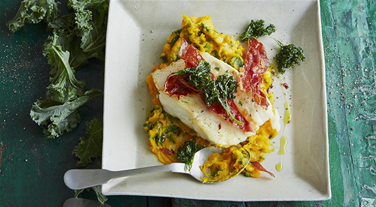 Cod with Kale, Pumpkin Mash and Horseradish Sour Cream https://t.co/H02jDenkEt https://t.co/7980blczN6