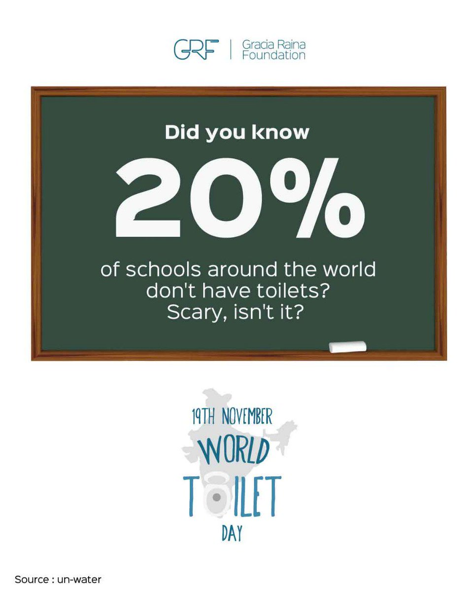 Did you know 1/5th of schools around the world dont have toilets? Scary, isnt it? On #WorldToiletDay let us all pledge to defuse the global sanitation crisis, one toilet at a time. While at it, tell us if you went to a school that required proper toilet facilities?