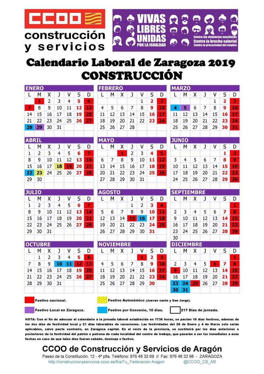 Calendario Laboral De La Construccion 2019.Ccoo Const Y Serv On Twitter Calendario Laboral De La