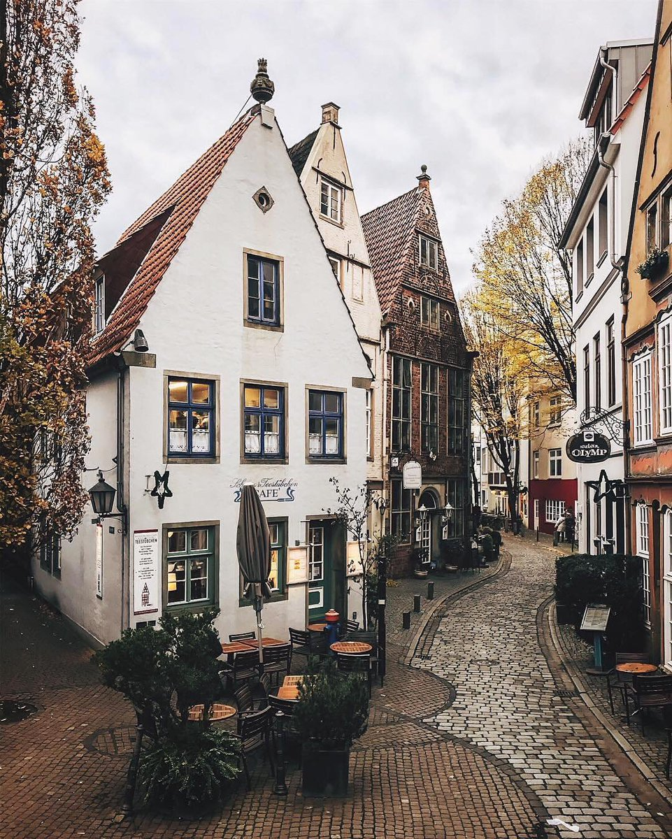 """Some #GentleDensity historical precedents just make you melt. Schnoor quarter in #Bremen, Germany - """"life before the car"""" via @heuristics. Nothing stops us from building something like this today except our rules. #missingmiddle"""