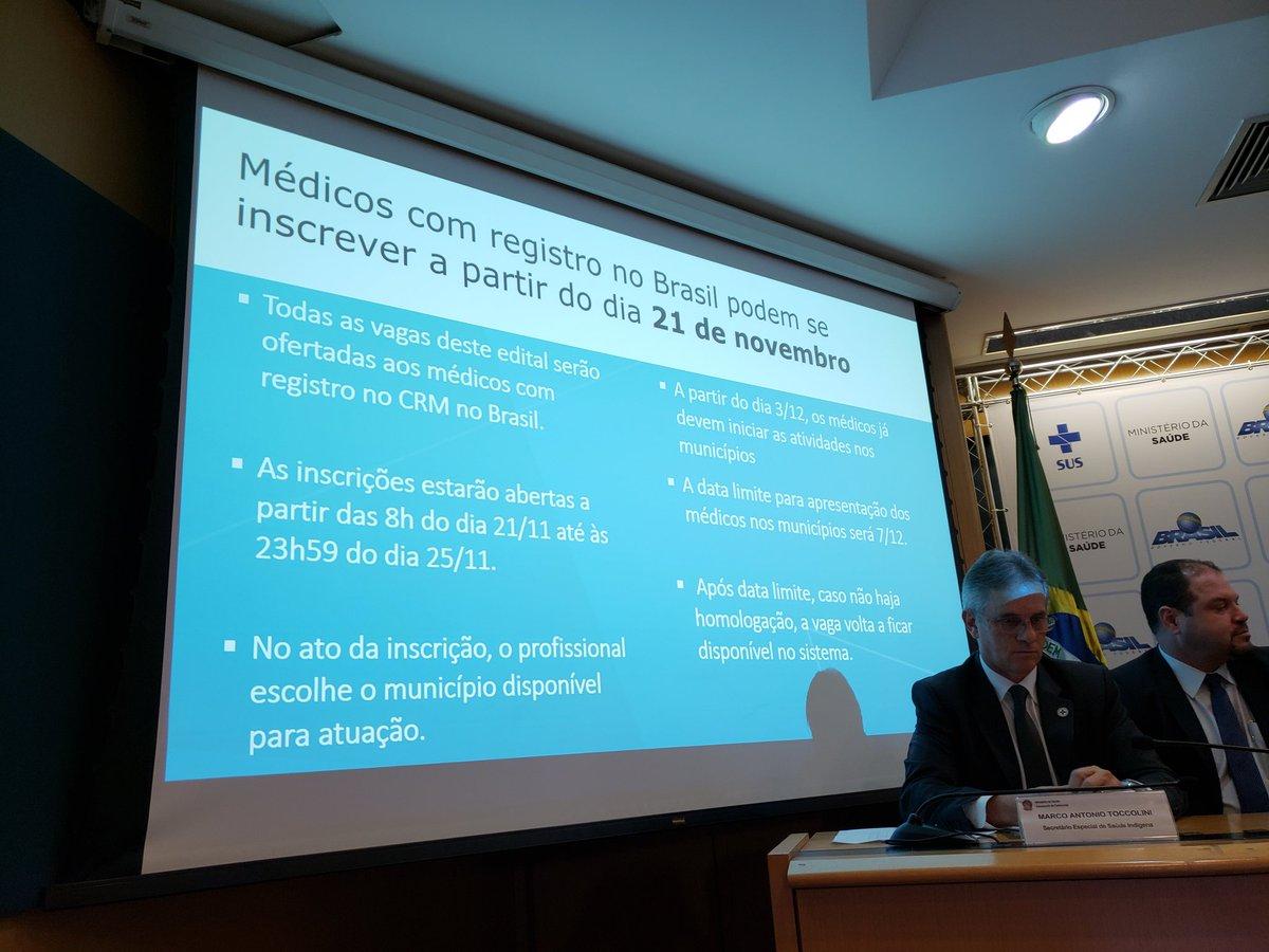 As inscrições começam a partir das 8h desta quarta-feira, 21/11, e seguem até o dia 25 deste mês #NovoEditalMaisMédicos.