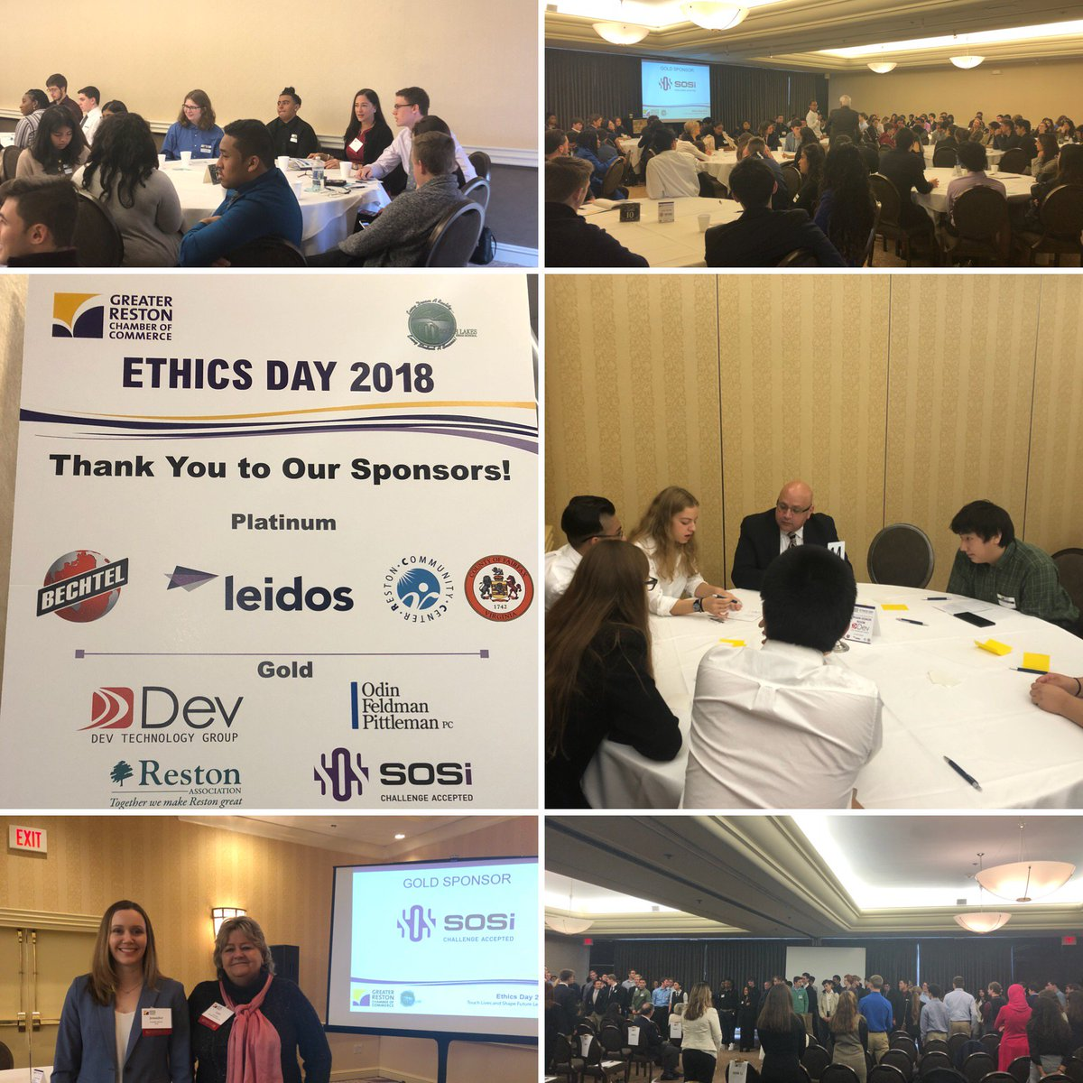 .@SOSi_HQ team members participated in @RestonChamber Ethics Day where the entire South Lakes HS senior class spends the day learning about ethical decision making. SOSi, a company that lives its ethics and values every day, is a proud sponsor of this event. #ChallengeAccepted
