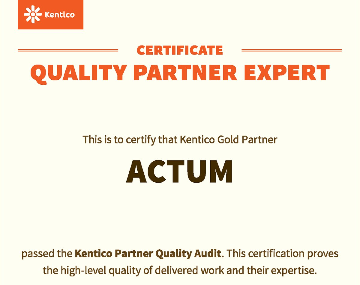 Congratulations to @ACTUM Digital on successfully completing their #Kentico Partner #QualityAudit https://t.co/pu7R2n4qJt