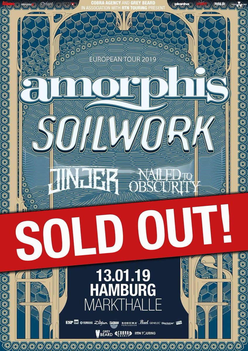 🇩🇪 @MarkthalleHH already sold out! Danke schön! Don't miss this tour, grab your tickets while you can at https://t.co/zyXGr1pLqM #amorphis #queenoftimetour #soilwork #jinjer #nailedtoobscurity https://t.co/rPQk9mZGww
