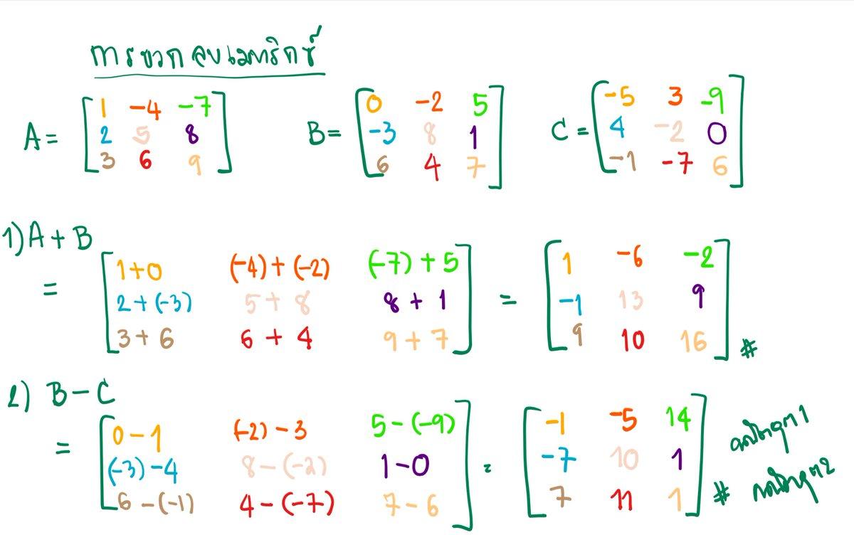 การบวก ลบ เมทริกซ์ #เมทริกซ์ #คณิตอุต1 #คณิตอุต2 https://t.co/oFuGVhRWDY.