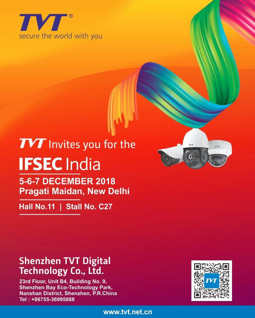 TVT Invite to you, Biggest event of Security exbition. IFSEC-2018. #TVT India #hamsa_india #IFSEC.
