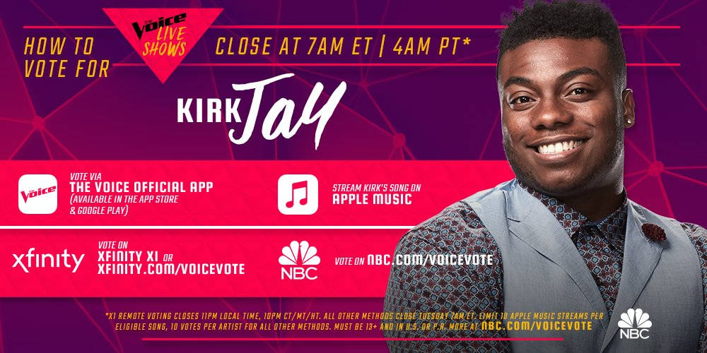 """This is @kirkjay7's final form! RETWEET if his spin on @rascalflatts' """"I Won't Let Go"""" has you voting for him to be #TheVoice! 😍"""
