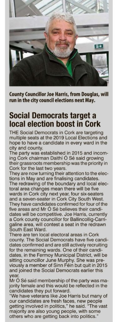 """""""#SocDems in Cork are targeting multiple seats in #LE19  and hope to have a candidate in every constituency"""""""