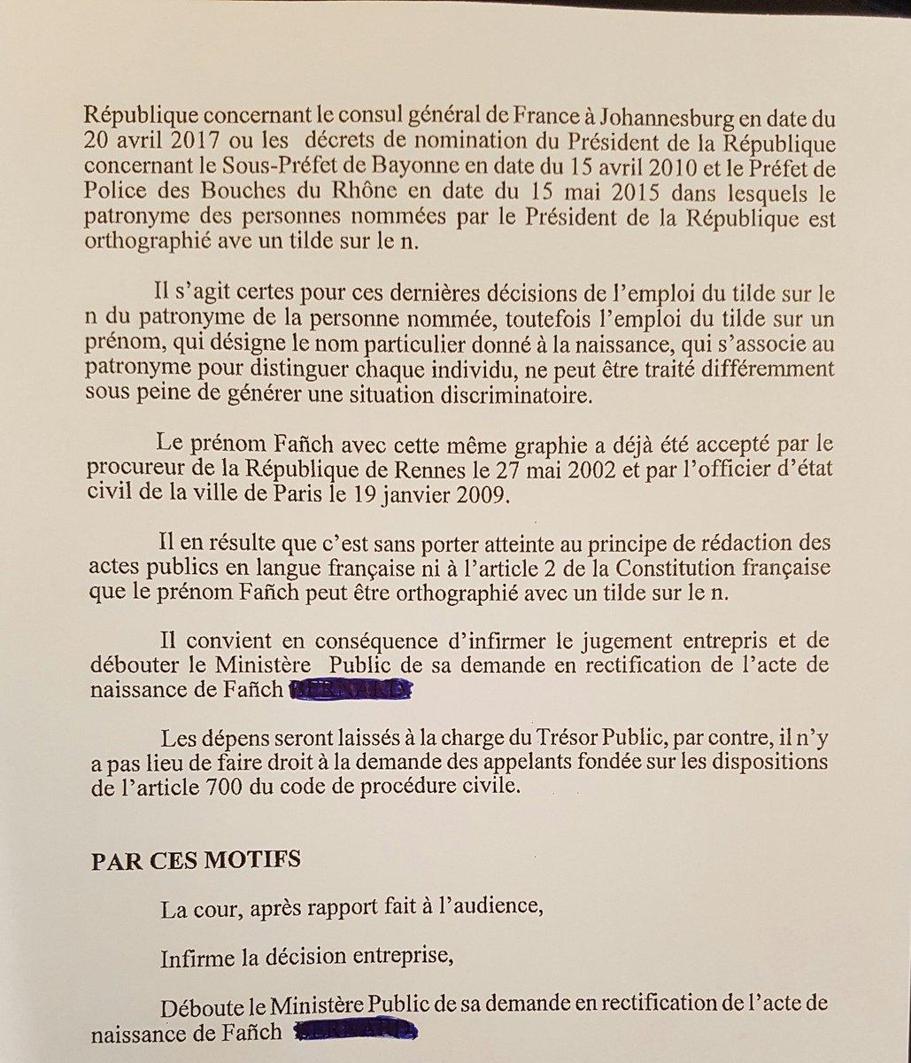 PP Cour Appel RENNES Tilde Sur Le N De Fanch Tat Civil Prnom Breton Et Extraits La Motivation Dappel Rennes