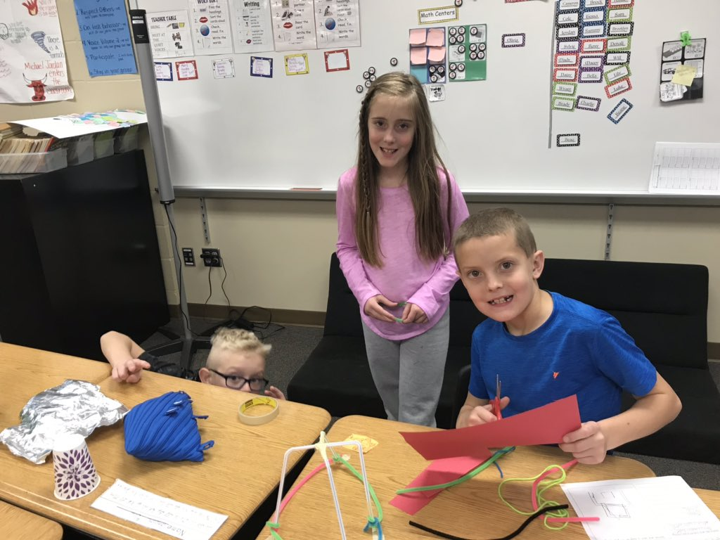 #STEM challenge today! Can you protect the pilgrims from wind, rain and weight with only the materials provided! Right now we are #underconstruction  #dcgexcellence @NorthRidge_Elem