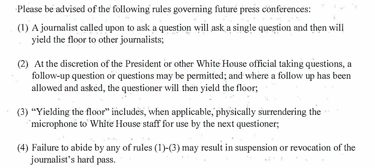 Per White House letter to Acosta on Nov. 19, here are the new rules for press conferences at the White House.