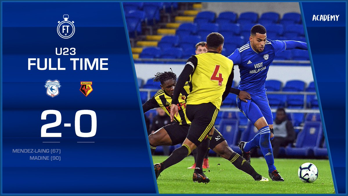 U23 FULL TIME: @CardiffCityFC 2-0 @WatfordFC City earn all three points at CCS - @mendezlaing19s fine finish and a Gary Madine header sealing the victory. Well done, lads! #CityAsOne 🔵⚽️🔵⚽️