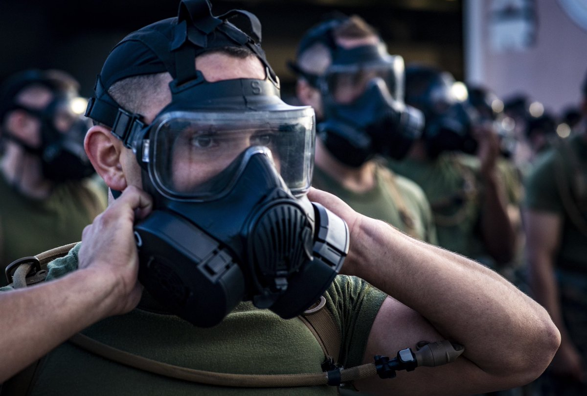 Gas Gas Gas! . U.S. Marines conduct a gas mask run aimed to build unit readiness and cohesion, while also familiarizing themselves with conducting strenuous activity while wearing the gas mask.  #training #usmc #fightingforce #alwaysready