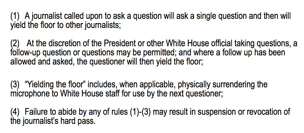 Sarah Sanders releases the new rules for White House reporters:   'We have created these rules with a degree of regret … given the position taken by CNN, we now feel obligated to replace previously shared practices with explicit rules.'