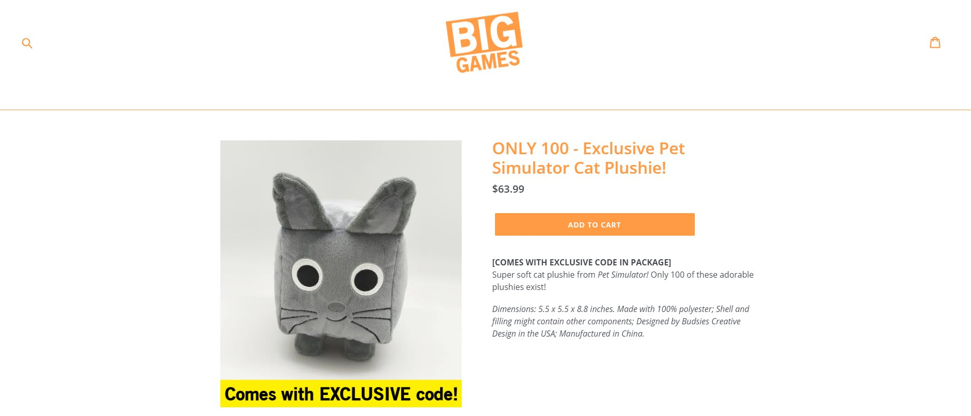 Roblox Pet Simulator Big Cat Code Big Games On Twitter Our Shop Is Live Come Grab A Limited Time Cat Plushie From Pet Simulator Each Order Comes With An Exclusive In Game Code For A Secret Pet