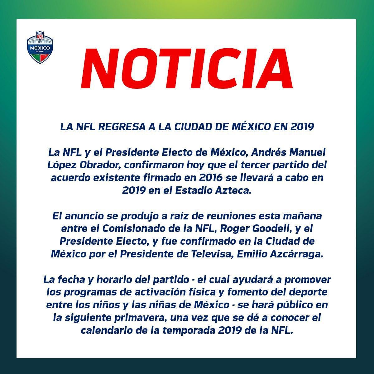 NFL confirma que regresará a México en 2019