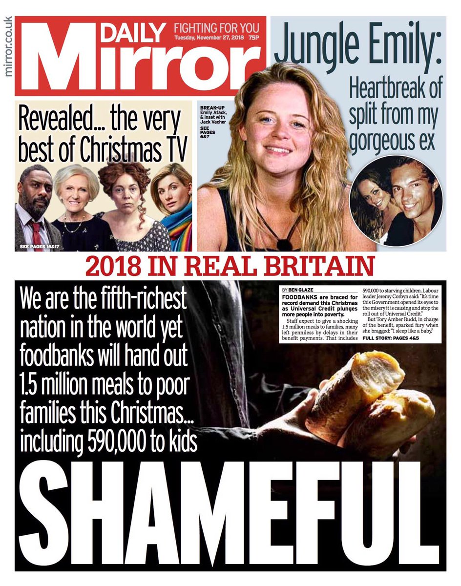 No one should be cold or hungry at Christmas.   It's time this Government opened its eyes to the misery its causing and immediately stop the roll out of Universal Credit.