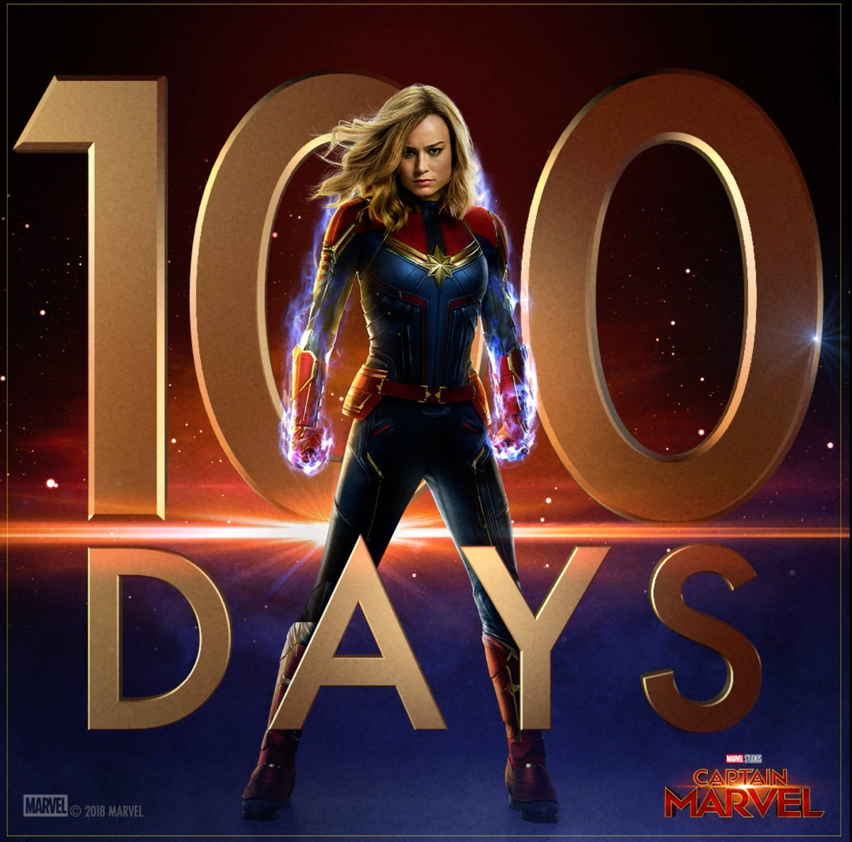 100 Days. Marvel Studios' #CaptainMarvel is in theaters March 8, 2019.