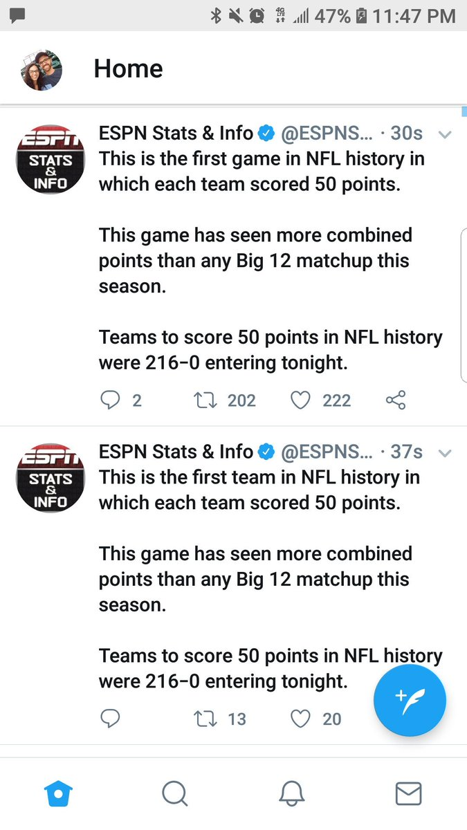 Espn Stats Info On Twitter This Is The First Game In Nfl History In Which Each Team Scored 50 Points This Game Has Seen More Combined Points Than Any Big 12