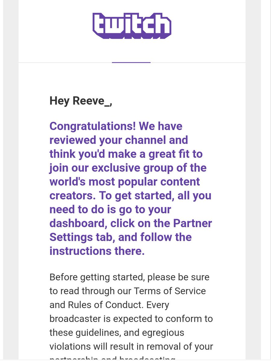 Austin Reed On Twitter Been Grinding For 3 Years As A Streamer On Twitch Today I Finally Got This Email So Happy I Don T Even Know Where To Begin Thank You To