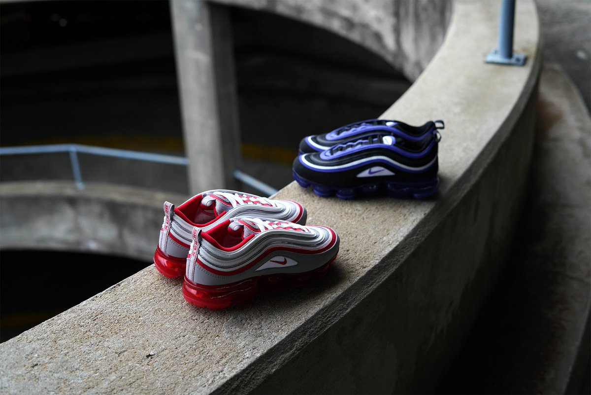 02b56b7a31a0 ... Kids  Nike Vapormax  97 drops in select stores   online 11 26. Which  one is the favorite  Atmosphere Grey Varsity Red  or  Black Persian Violet