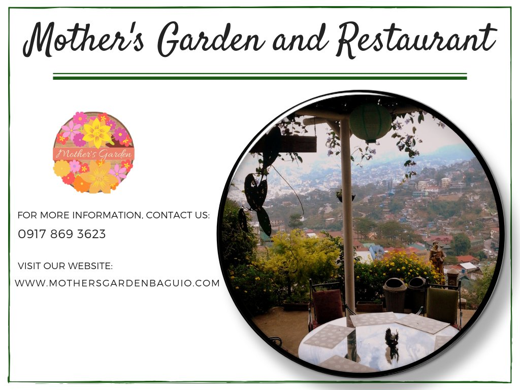 Complete your visit here at the City of Pines and reserve your slot at Mother's Garden and Restaurant!  http://www. mothersgardenbaguio.com     #TourDestination #FamilyDestination #QuietPlace #RealTeamBuilding #ThemedRestaurant #LazyDay #FineDining #CuisineGarden #Gourmet #OrganicRestaurant<br>http://pic.twitter.com/vdR4pJeuJL