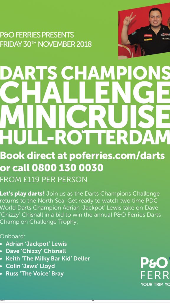 Only 2 weeks away. Nearly 500 coming on for this great 2 Darts party on @POferries Hull - Rotterdam. Main match @jackpot180 v @ChizzyChisnall plus @ColinJawsLloyd @Russ180 and Myself. Live band & Disco and day st Amsterdam. Get the final bookings 🎯🍺