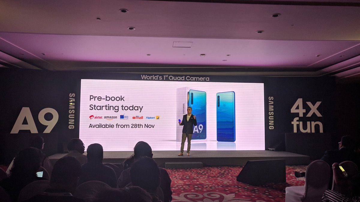 The Samsung Galaxy A9 (2018) will be available starting at Rs 36,990. Pre-book starts today and you can grab the device from 28 November. #GalaxyA9 @SamsungMobileIN pic.twitter.com/SdUhcBG5H5