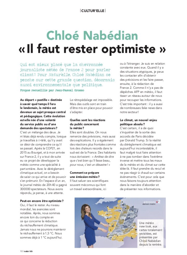 ac9d854246f1a6 ITW à lire en ce moment dans votre magazine Natur elle merci Jean-Pascal  Grosso pour cet article  france2  meteo  journalmeteo  climat  info   proximite ...