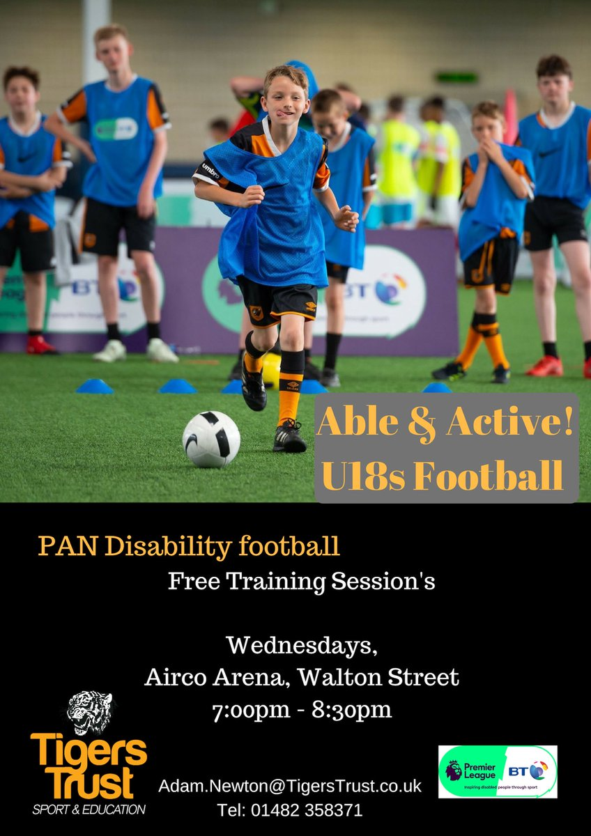 🚨 New Session! Starting tomorrow night 🚨 PAN Disability U18's Football session  To book message the page or  Email: Adam.Newton@TigersTrust.co.uk Tel: 01482 358371