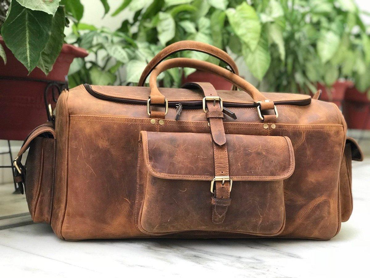 3a9d262bcf ...  etsy shop  Zakara Genuine Buffalo Hunter Brown Leather Weekender Bag