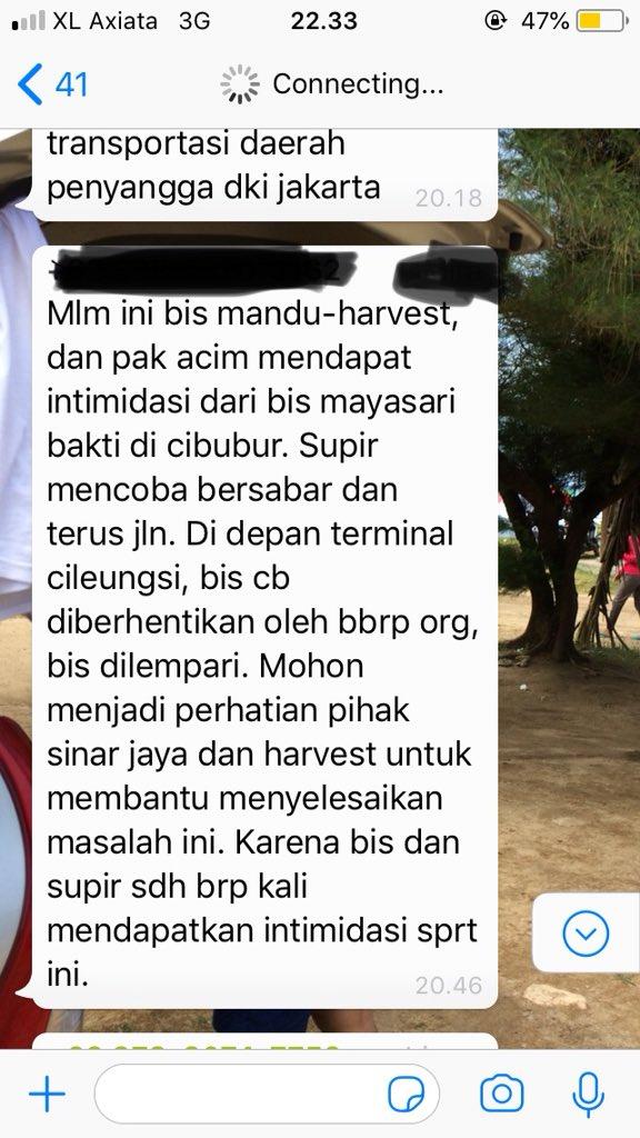 ...berikut bbrp capture'an di grup WA bus SJ Harvest City-Mangga Dua..