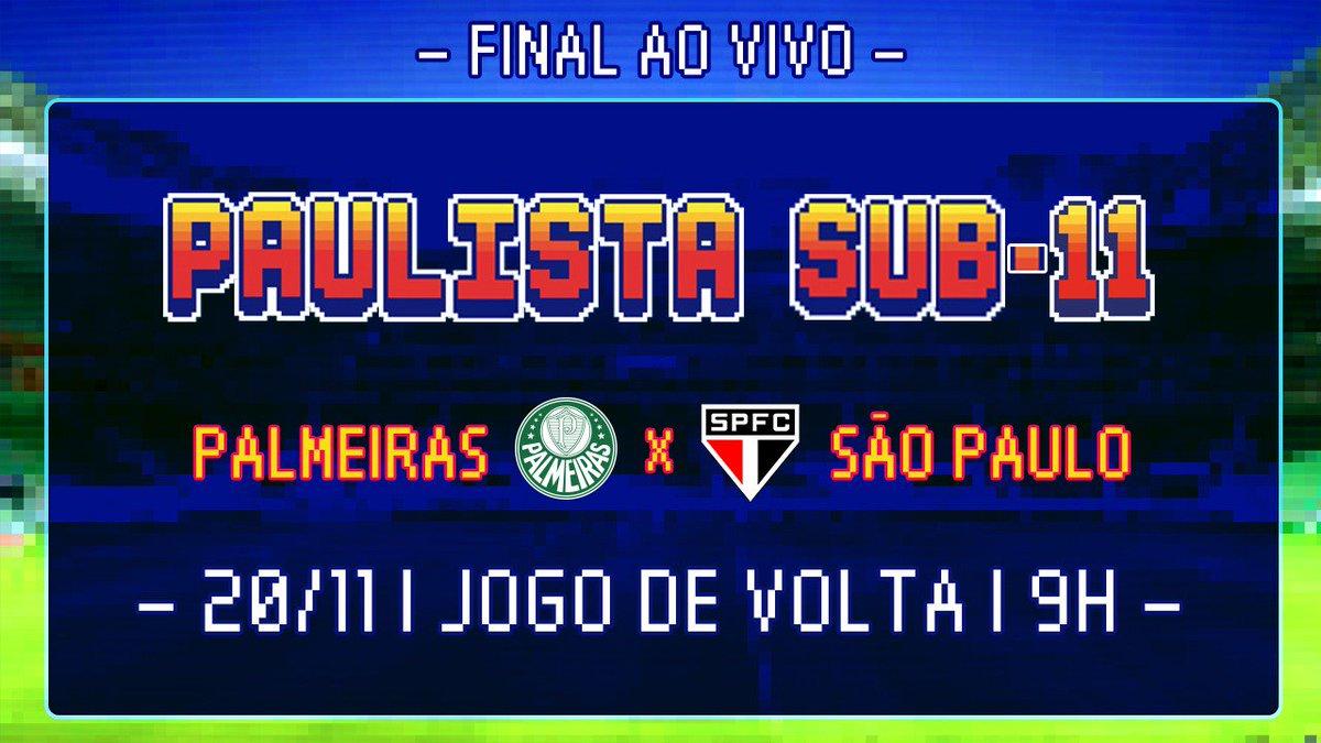 A primeira decisão do dia! As #CriasDaAcademia do Sub-11 estão em campo para decidir o título paulista! Bora acompanhar no Facebook (https://t.co/Wdc3ktQ9e7) ou na TV Palmeiras/FAM (https://t.co/OyQGldluMQ)!  O jogo de ida terminou empatado em 0 a 0. #AvantiPalestra