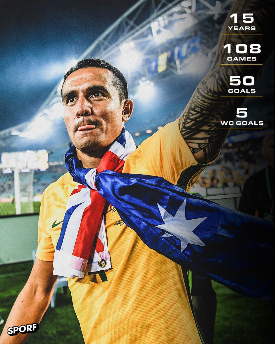 🇦🇺 @Tim_Cahill has played his final match for the @Socceroos.  🏟 108 Games ⚽️ 50 Goals  🌍 4 @FIFAWorldCup ⚽️ 5 @FIFAWorldCup Goals  🙌 Socceroos Legend.