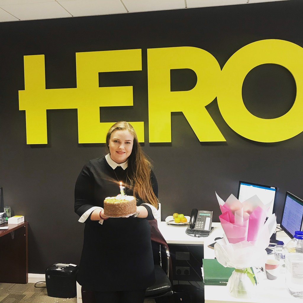 Happy Anniversary with HERO Sarah! You are the glue that keeps us all together, and all with a winning smile. #bestofficemanager #ourhero