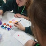 Image for the Tweet beginning: Silk painting at craft club