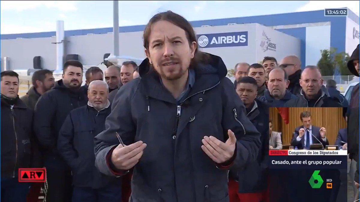 📺 Airbus está maltratando a sus trabajadores, de quienes depende nuestra seguridad. Dignidad y readmisión inmediata de los 70 trabajadores. Es una necesidad que tenemos todos los ciudadanos que cogemos aviones. @Pablo_Iglesias_ en @DebatAlRojoVivo