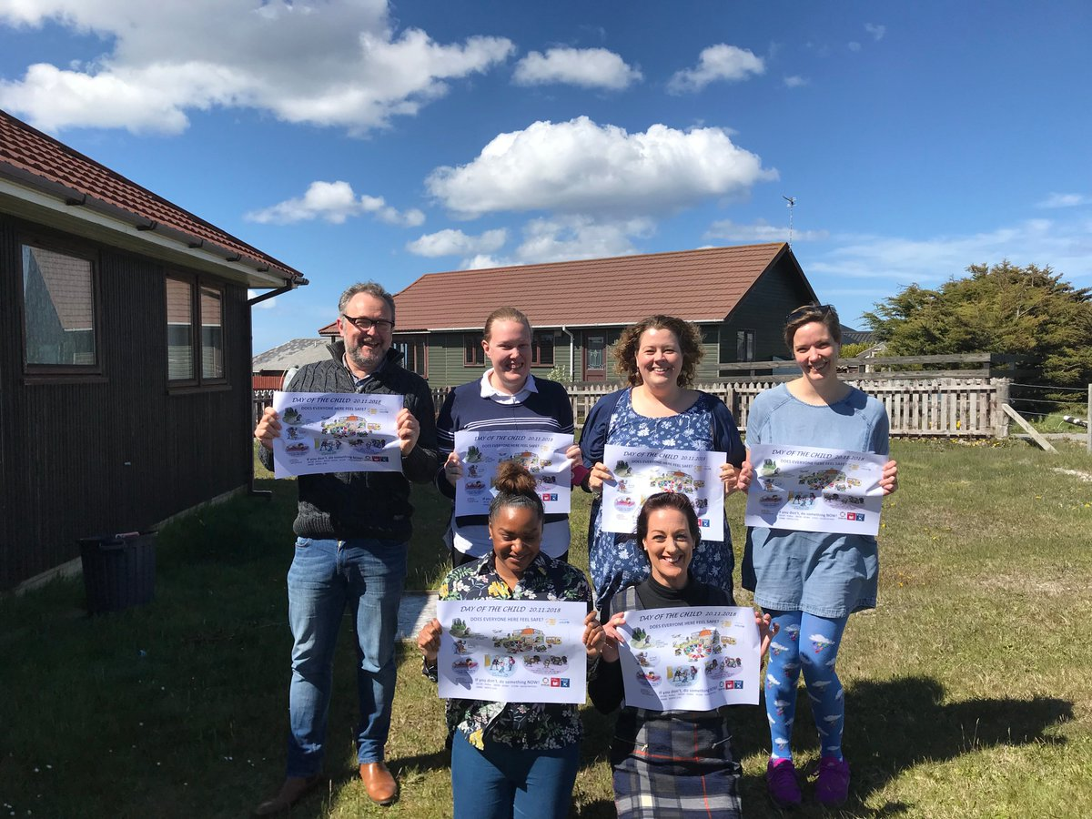 Members of the #Falklands Social Services team have been busy celebrating and promoting #dayofthechild! The team work hard in the islands ensuring that every child has a voice and their rights are respected #GoBlue #islandlife #sunnyskies