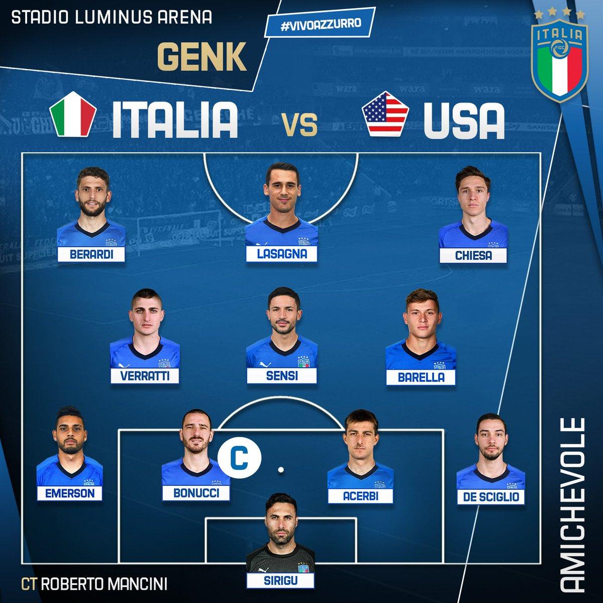 💙 Gli 11 #Azzurri scelti dal Ct #Mancini   🇮🇹🇺🇸 #ItaliaUSA  🏟 #LuminusArena - #Genk ⏱ h 20.45 - Tv #RaiUno  #ItaUSA #Nazionale #VivoAzzurro
