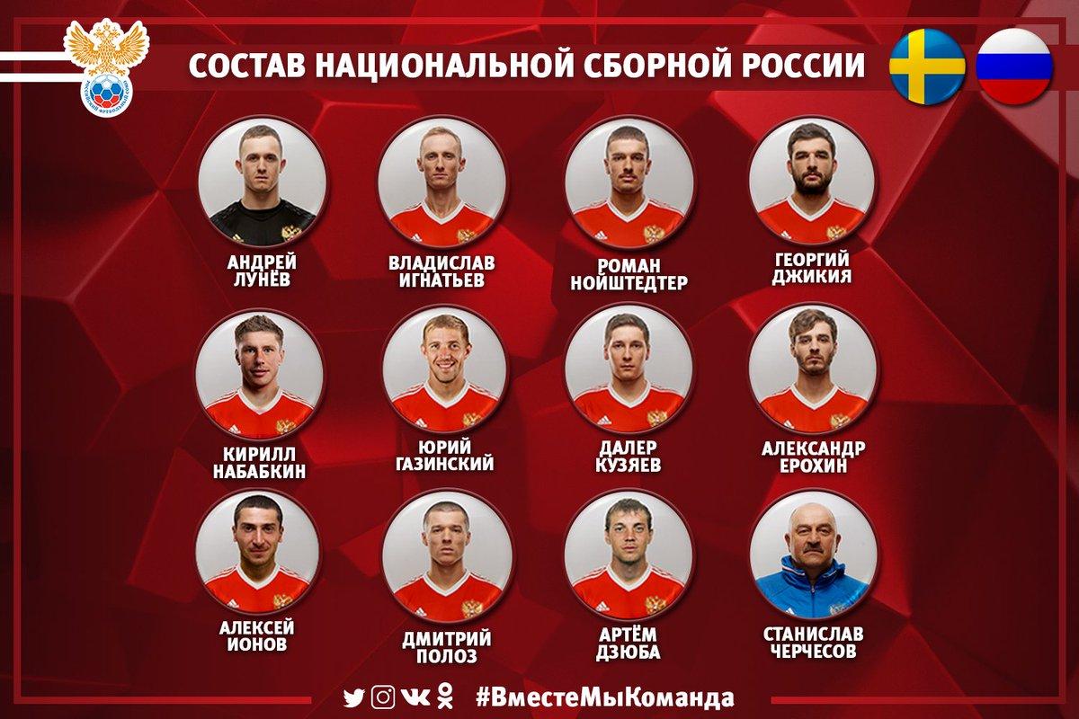Стартовый состав @TeamRussia на матч с Швецией