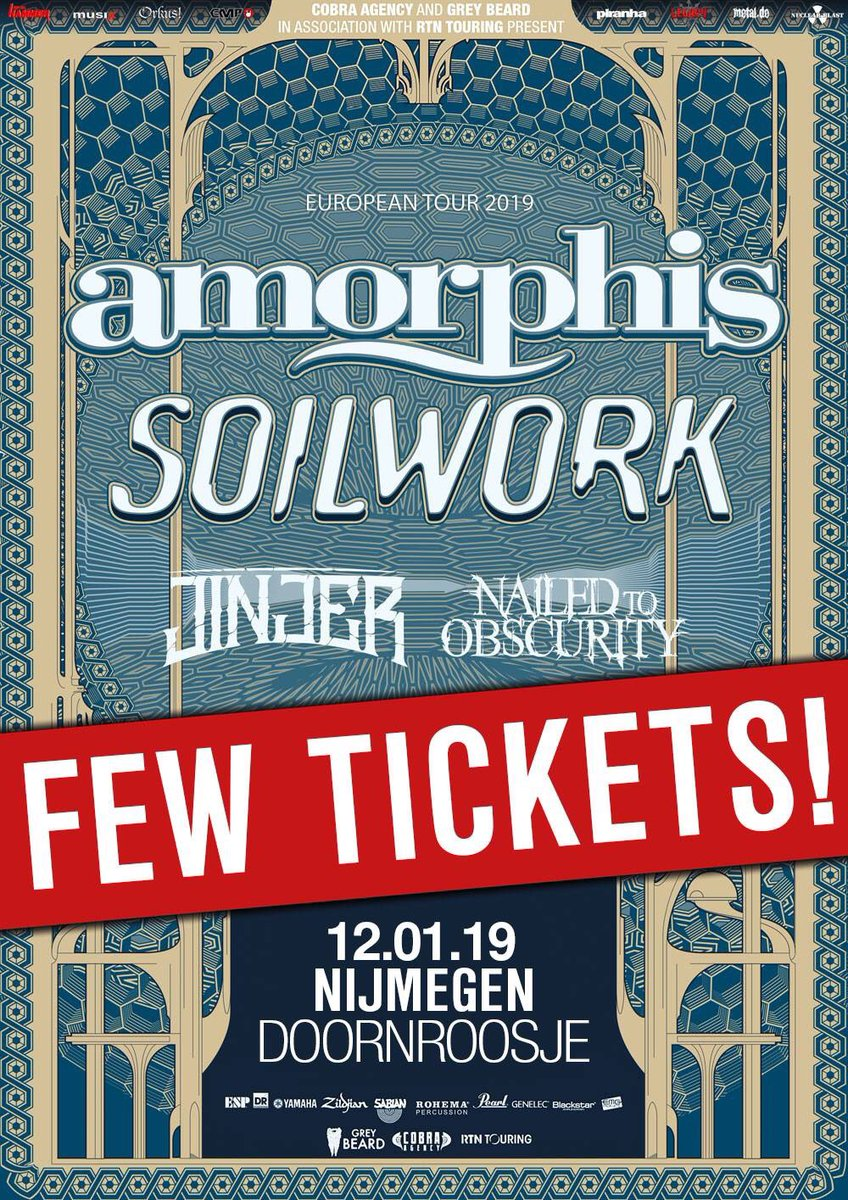 Nijmegen & Leipzig, be quick!  Tickets: https://t.co/1WCe1owgym #amorphis #queenoftimetour #soilwork #jinjer #nailedtoobscurity https://t.co/yhg5rUbHpl