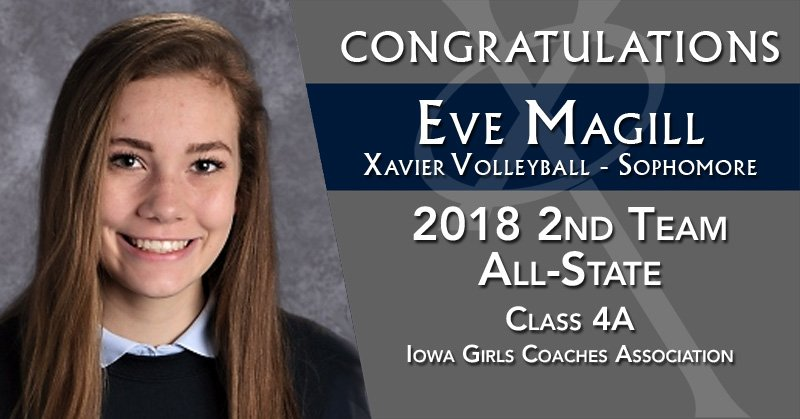 Congratulations to @XHSVolleyball sophomore, Eve Magill, on being selected 2nd Team All-State in Class 4A by the Iowa Girls Coaches Association! #WeAreXavier